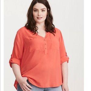 Torrid Harper- red challis pullover blouse